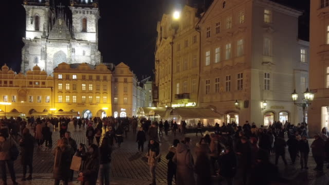 prague old town square and tyn church at night - tyn church stock videos & royalty-free footage