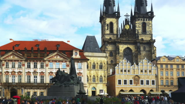 prague old town square and tyn church - prague stock videos & royalty-free footage