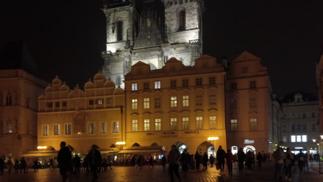 prague old town square houses and tyn church at night - tyn church stock videos & royalty-free footage