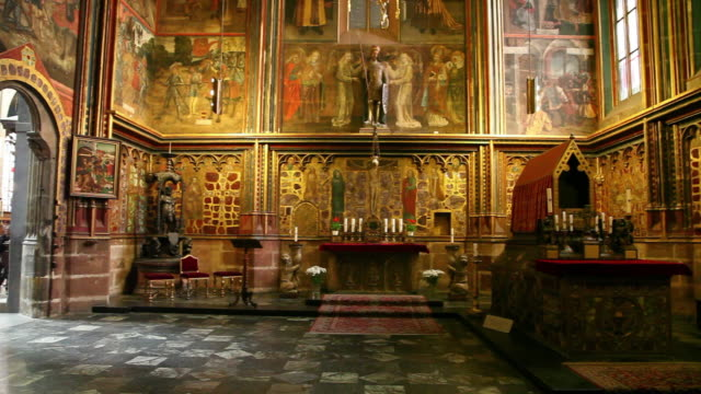 prague, saint vitus cathedral, chapel of saint wenceslas - eastern european culture stock videos and b-roll footage