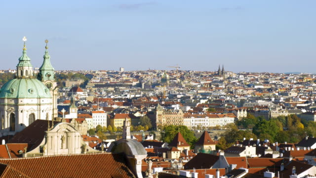 prague skyline and church of st. nicholas - mala strana stock videos and b-roll footage