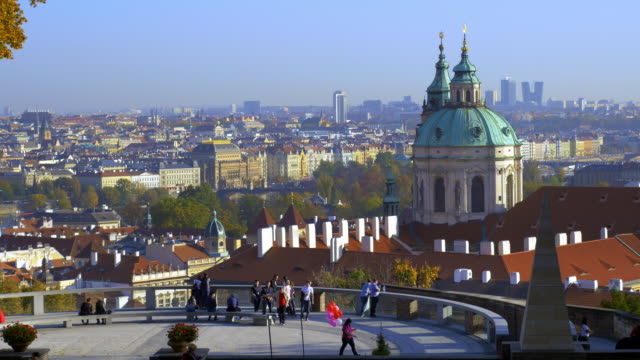 prague skyline and church of st. nicholas - hradcany castle stock videos and b-roll footage