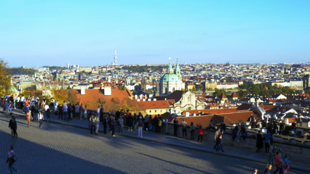prague skyline and church of st. nicholas viewed from hradcany - stare mesto stock videos and b-roll footage