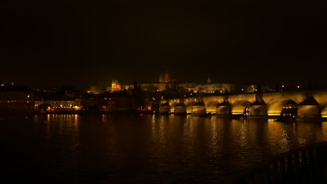 prague skyline at night - mala strana stock videos and b-roll footage