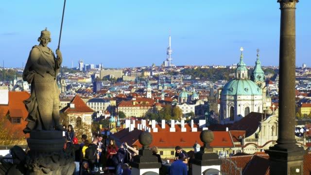 prague skyline viewed from hradcany hill - st nicholas's church prague stock videos and b-roll footage