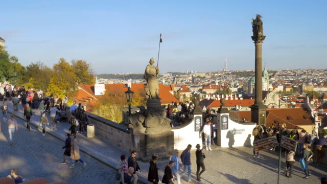 prague skyline viewed from hradcany hill - mala strana stock videos and b-roll footage