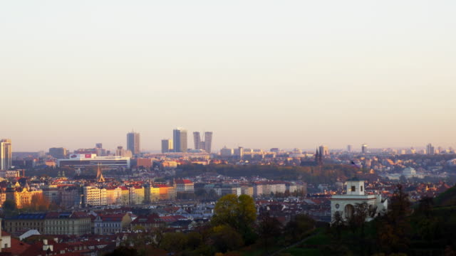 prague skyline with the skyscrapers of the pankrác district - us embassy stock videos & royalty-free footage