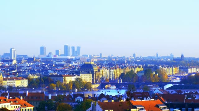 prague skyline with the skyscrapers of the pankrác district - stare mesto stock videos & royalty-free footage