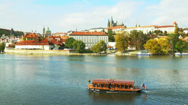prague skyline with vltava river and hradcany hill - st nicholas's church prague stock videos and b-roll footage