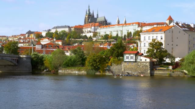 prague skyline with vltava river and hradcany hill - mala strana stock videos and b-roll footage