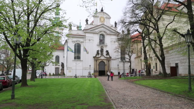prague, strahov monastery, the façade - mala strana stock videos and b-roll footage