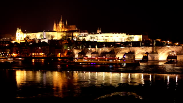 prague time lapse video - charles bridge stock videos and b-roll footage