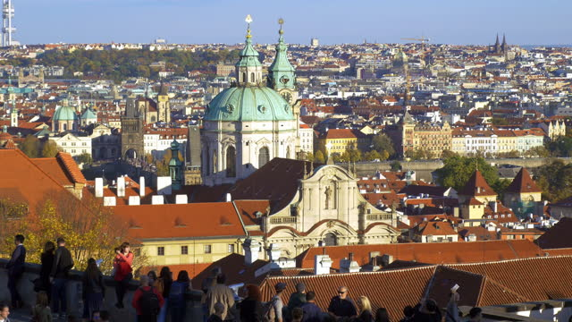 prague tourists looking at view on hradcany hill - czech republic stock videos & royalty-free footage