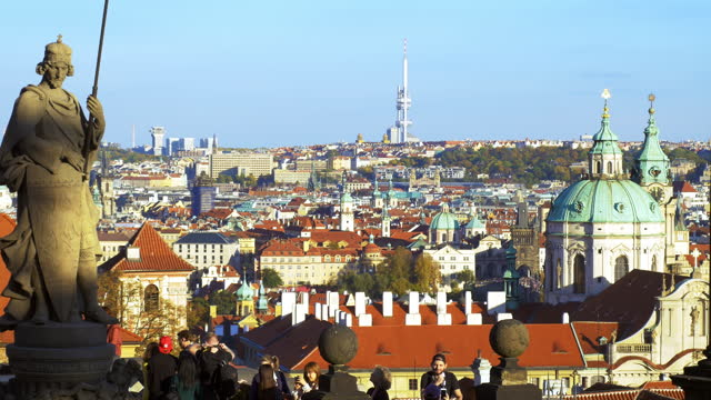 prague tourists looking at view on hradcany hill - prague stock videos & royalty-free footage
