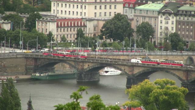 hd: prague trams at river vltava, czech republic, eastern europe - vltava river stock videos & royalty-free footage