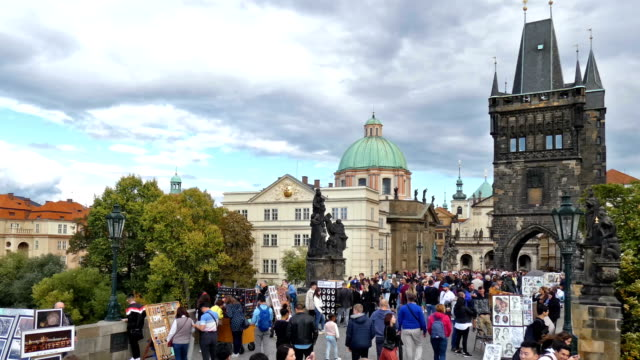 prague - charles bridge stock videos & royalty-free footage
