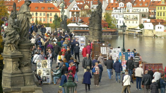 prague vltava river and charles bridge - river vltava stock videos & royalty-free footage