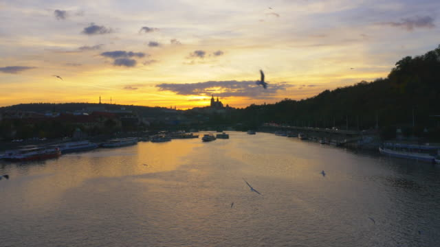 Prague Vltava River and Hradcany Castle Hill at Sunset