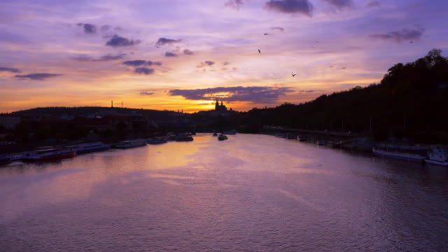 Prague Vltava River and Hradcany Hill at Sunset