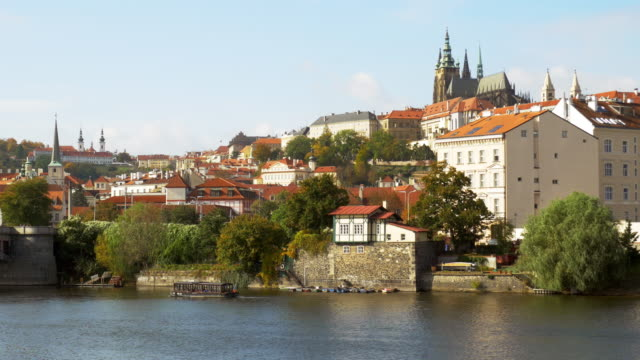 prague vltava river and hradcany hill - river vltava stock videos & royalty-free footage