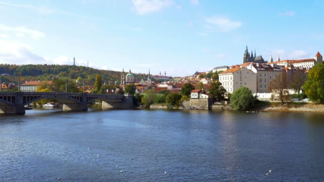 prague vltava river and hradcany hill - mala strana stock videos and b-roll footage