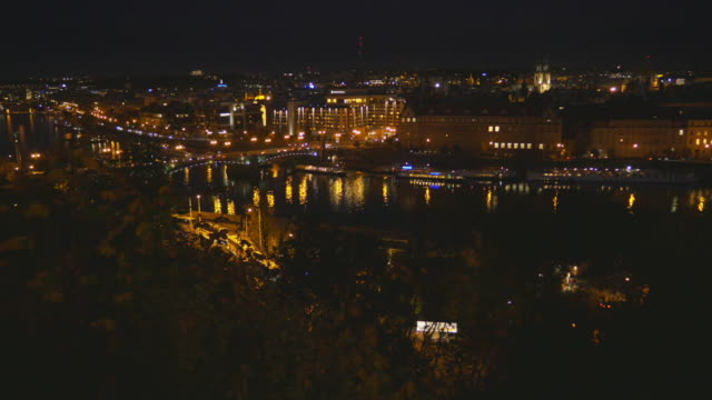 Prague Vltava River And Old Town At Night