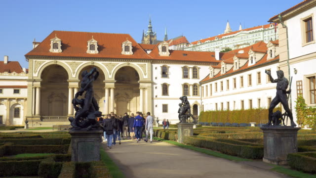 prague wallenstein garden and sala terrena - hradcany castle stock videos and b-roll footage