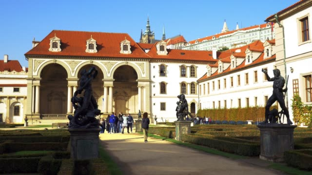 prague wallenstein garden in autumn - hradcany castle stock videos and b-roll footage