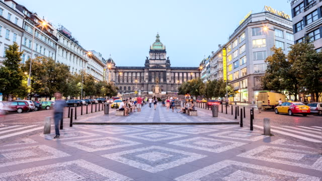 prague wenceslas square hyperlapse - bench stock videos & royalty-free footage