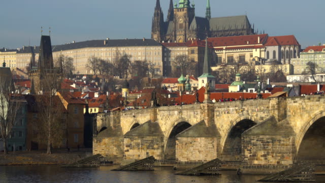 prague with charles bridge, realtime - charles bridge stock videos & royalty-free footage