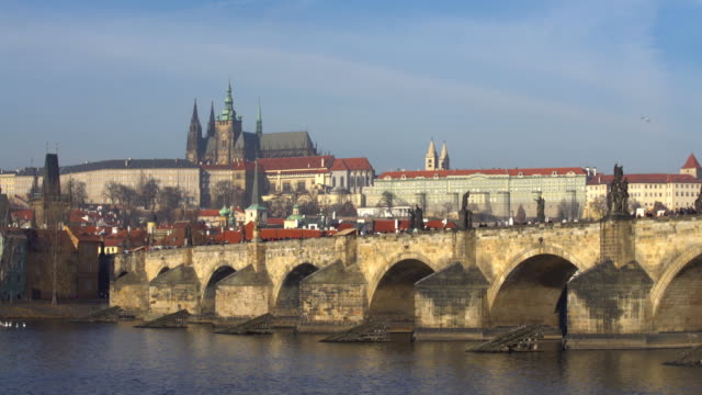 prague with charles bridge, time lapse - traditionally czech stock videos & royalty-free footage