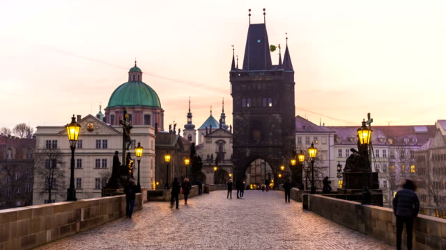 prague with charles bridge, time lapse - prague stock videos & royalty-free footage