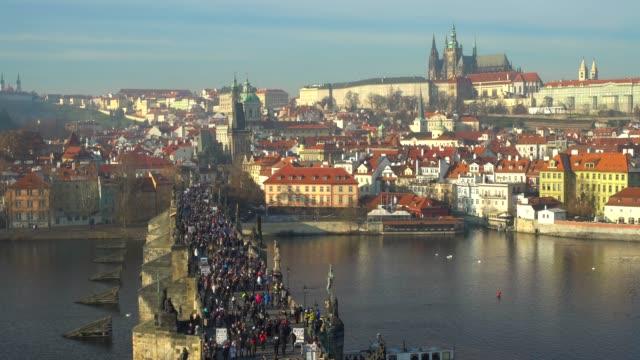 Prague with Charles Bridge, time lapse