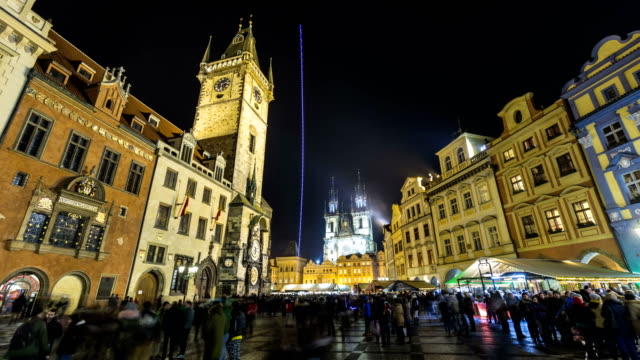 prague with christmas market, time lapse - prague stock videos and b-roll footage