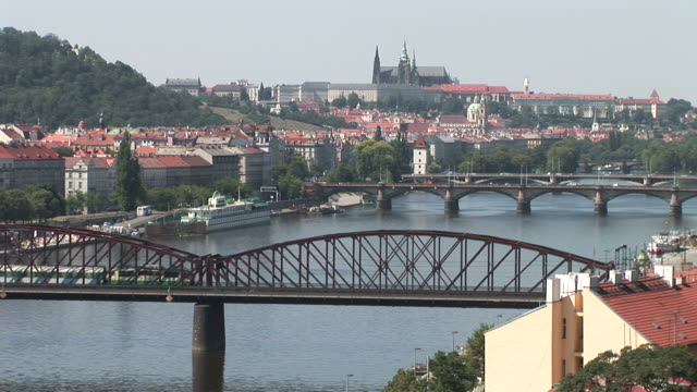 praguebridges over vltava river in prague czech republic - river vltava stock videos & royalty-free footage