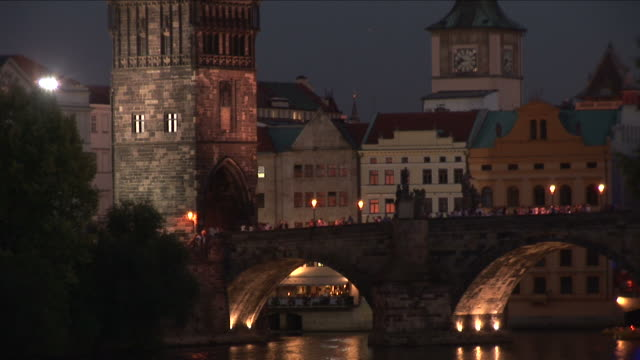 praguecharles bridge at night in prague czech republic - charles bridge stock videos and b-roll footage