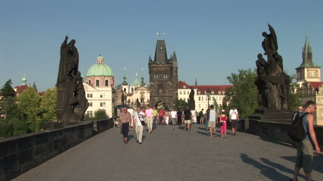 praguecharles bridge in prague czech republic - charles bridge stock videos & royalty-free footage