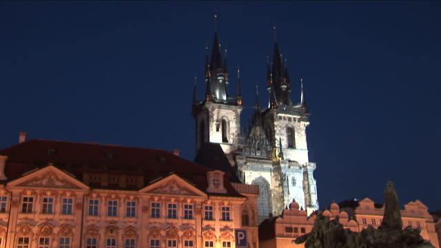 PragueChurch of Our Lady Before Tyn at night in Prague Czech Republic