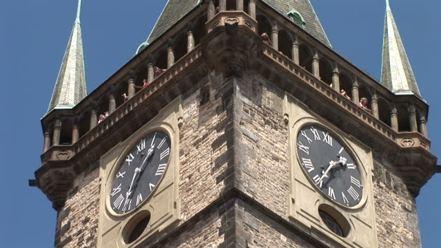 pragueclose view clock tower of staromestska square prague czech republic - traditionally czech stock videos & royalty-free footage