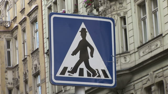 pragueclose view of a signboard in prague czech republic - male likeness stock videos & royalty-free footage