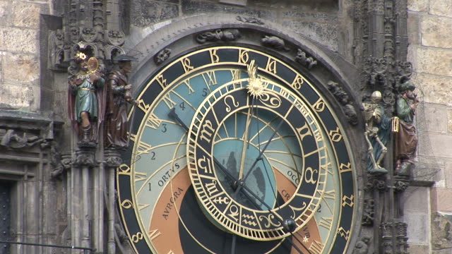 pragueclose view of astrological clock in prague czech republic - altstädter ring stock-videos und b-roll-filmmaterial