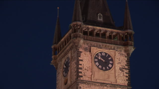 pragueclose view of clock tower in old town square of prague czech republic - altstädter ring stock-videos und b-roll-filmmaterial