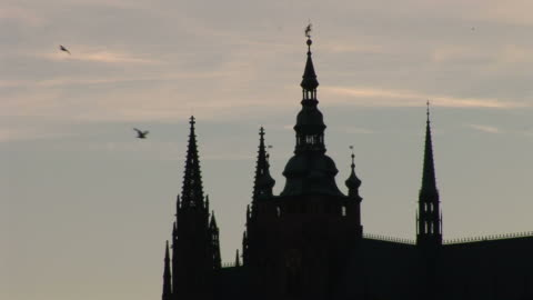 pragueclose view of st. vitus cathedral at magic hour in prague czech republic - 聖ヴィート大聖堂点の映像素材/bロール