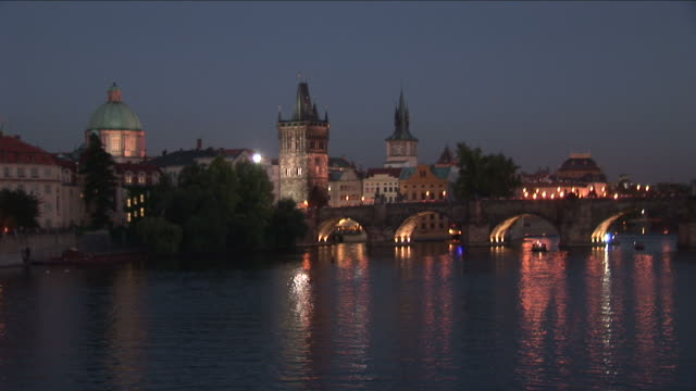 praguenight view of vltava river and prague castle in prague czech republic - river vltava stock videos & royalty-free footage