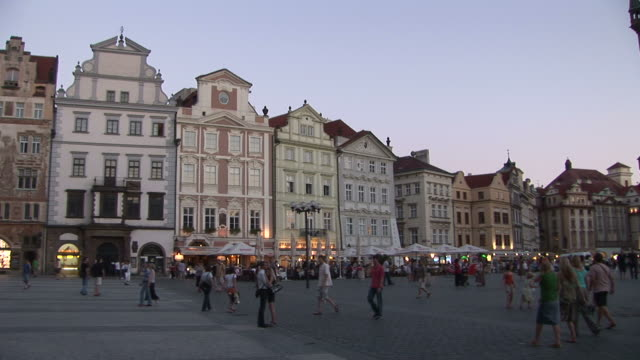 pragueold town square at magic hour in prague czech republic - prague old town square stock videos and b-roll footage
