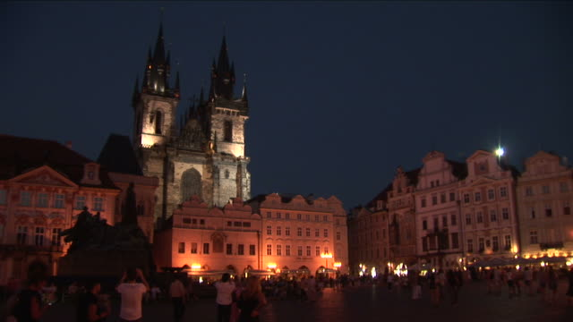pragueold town square at night in prague czech republic - prague old town square stock videos & royalty-free footage
