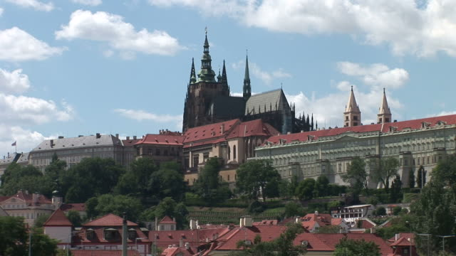 pragueprague castle and st vitus cathedral in prague czech republic - hradcany castle stock videos & royalty-free footage