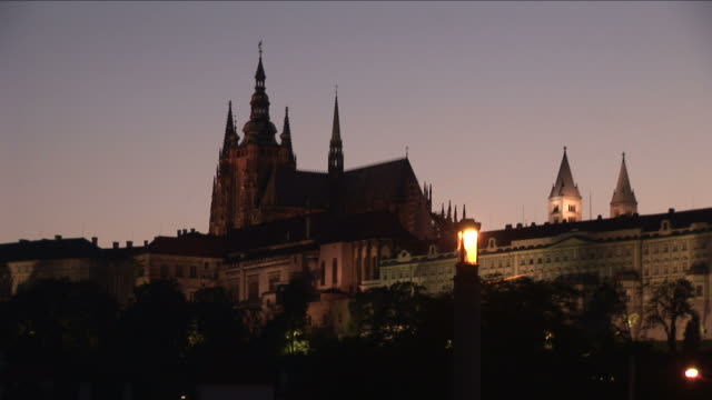 pragueprague castle at night in prague czech republic - hradcany castle stock videos & royalty-free footage