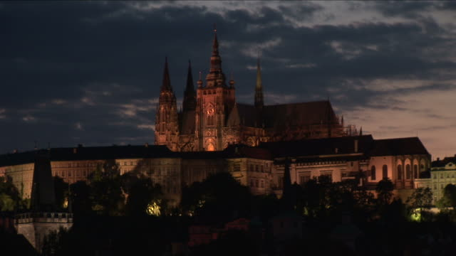 praguest. vitus cathedral at magic hour in prague czech republic - hradcany castle stock videos and b-roll footage