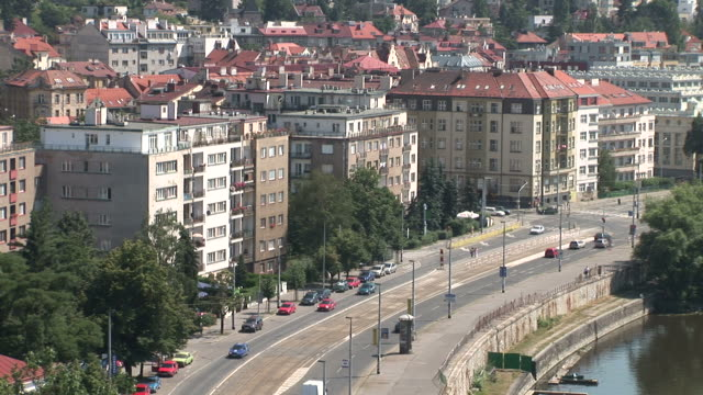 praguetop view of vltava river and city street in prague czech republic - river vltava stock videos & royalty-free footage